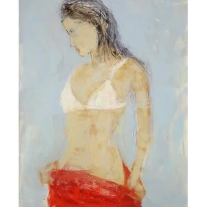 Femme à robe rouge